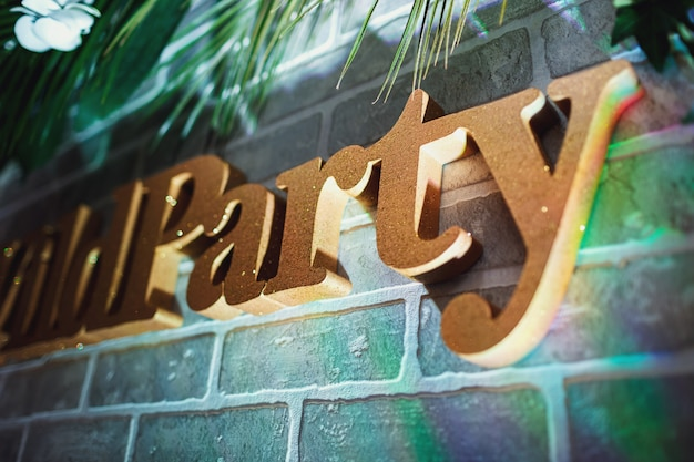 Word 'party' hags on the brick wall