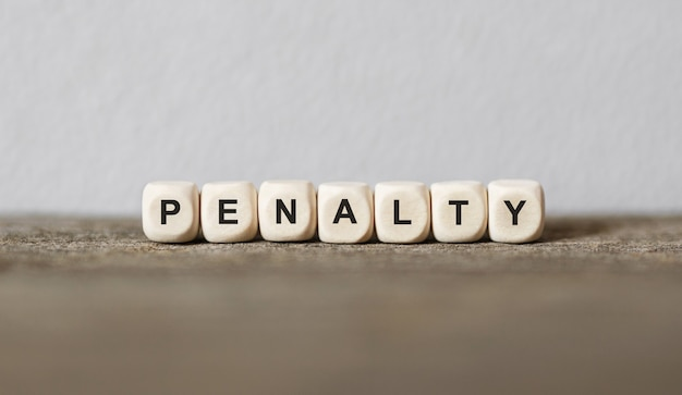 Word penalty made with wood building blocks
