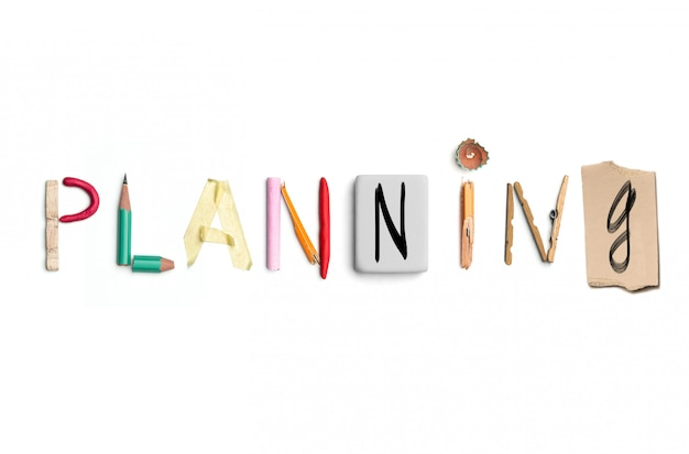 The word planning created from office stationery.