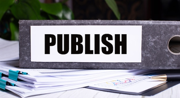 The word publish is written on a gray file folder next to documents. business concept