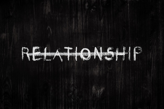 The word relationship on a blackboard
