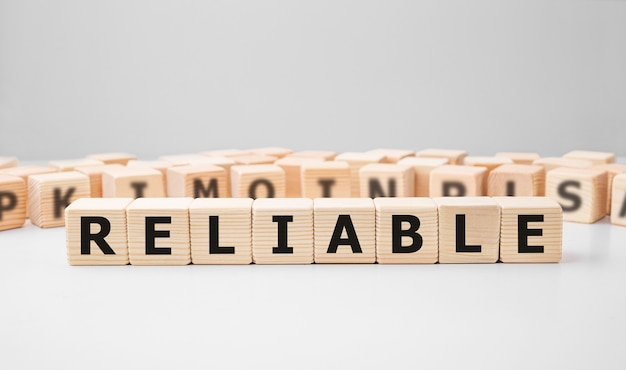 Word reliable made with wood building blocks