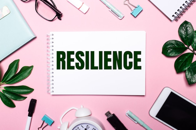 The word resilience is written in a white notebook on a pink wall surrounded by business accessories and green leaves.