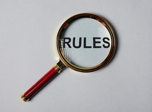 단어 규칙, 규정 및 지침의 개념, 관리.