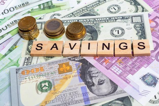 お金紙幣のワード貯蓄