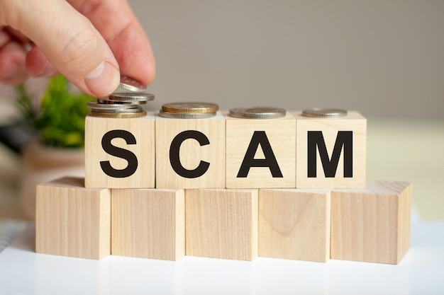The word scam written on wood cubes. a man's hand places the coins on the surface of the cube. green potted plant on the background. business and finance concept.