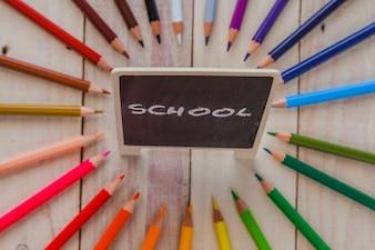 構成の黒板上の単語「学校」