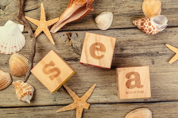 The word sea formed by wooden blocks on wooden table