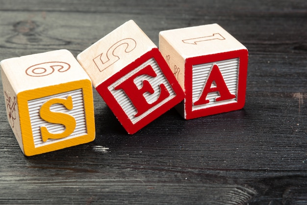The word sea formed by wooden blocks on wooden
