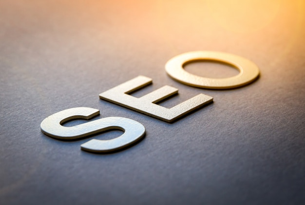 Word seo written with white solid letters