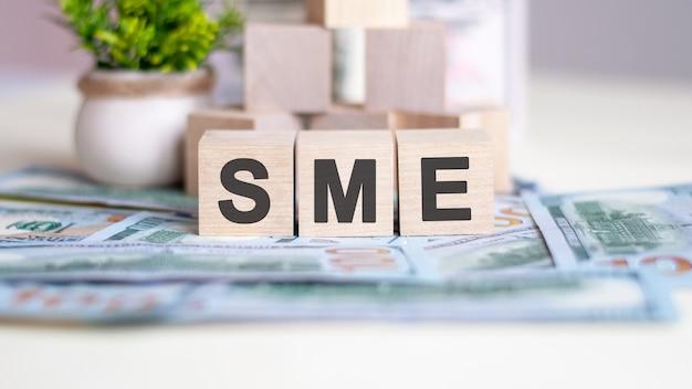 단어 sme는 나무 큐브에 기록됩니다. 큐브는 테이블에 누워 있는 지폐에 있습니다. 백그라운드에서 냄비에 녹색 식물입니다. sme - small and medium enterprises의 약자