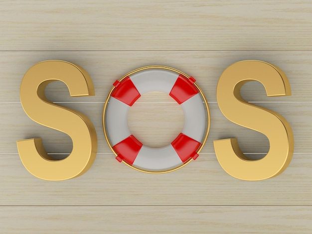 Word sos with lifebuoy on wooden