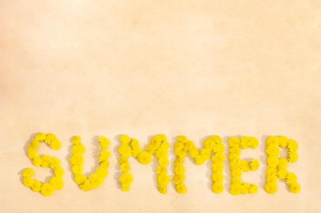 木の表面の背景のコピースペースのタンポポからの単語の夏