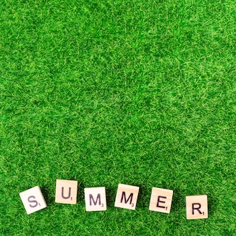 Word summer from game letters on grass
