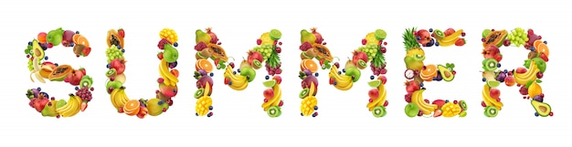 Word summer made of different fruits and berries, fruit font isolated on white