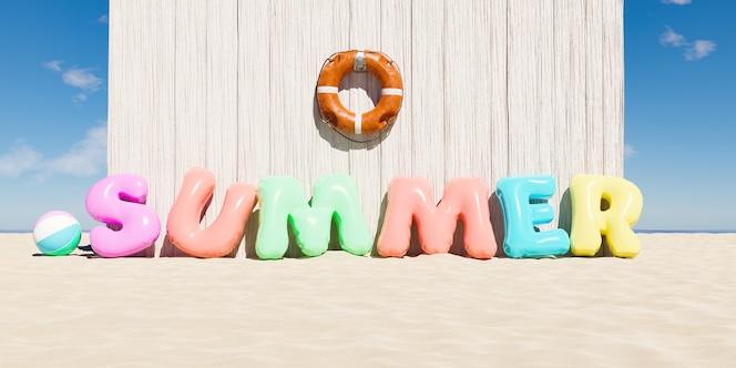 Anello gonfiabile e salvagente anulare a forma di parola summer accanto a una capanna in legno