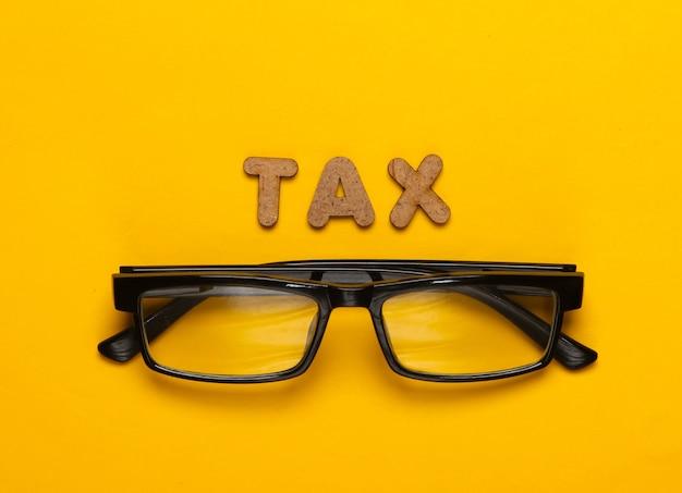 黄色の単語税と眼鏡