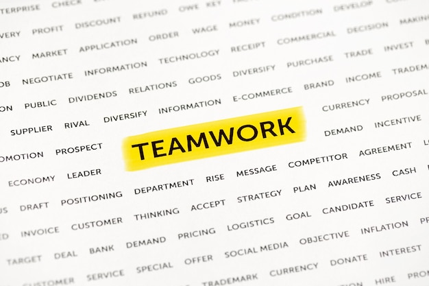 The word teamwork is highlighted with a marker on paper business concept strategy planning success