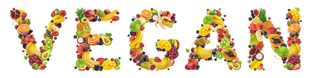 Word vegan made of different fruits and berries