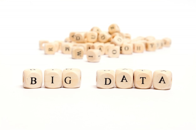 Word with dice on white background- big data