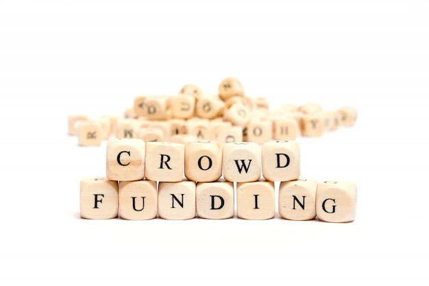 Word with dice on white background- crowd funding