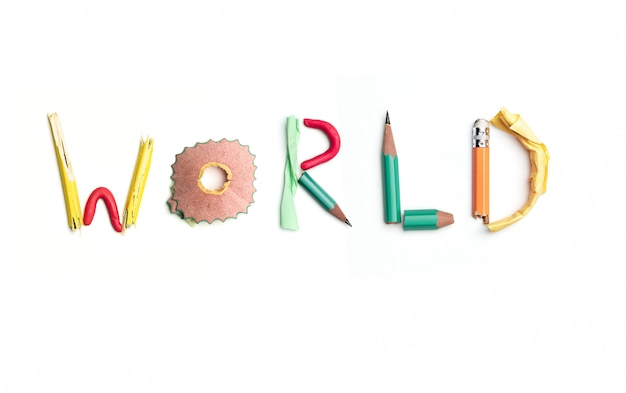 The word world created from office stationery.