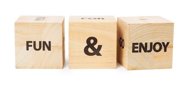 Word written in wooden cube