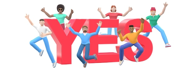 The word yes. group of young multicultural happy people jump and dance together.
