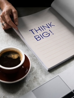 Wording think big on a book
