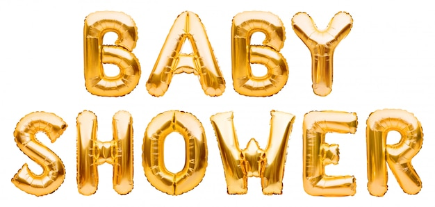 Words baby shower made of golden inflatable balloons isolated on white. helium foil balloons forming text. baby birthday party celebrating decoration.