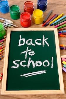 The words back to school written on a small elementary blackboard