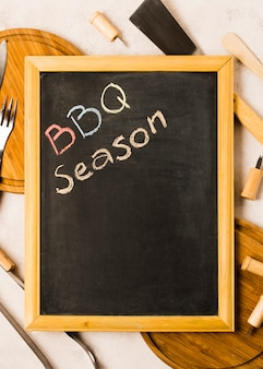 Words bbq season on blackboard