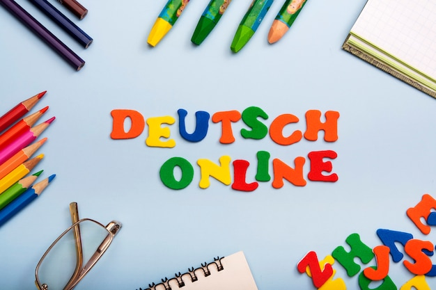 Words deutsch online made of colored letters. learning a new language concept