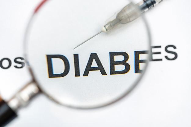 Диагностика диабета слов с шприцем через увеличительное стекло.