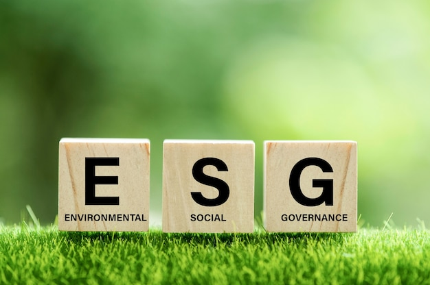 Words esg on a woodblock and future environmental conservation