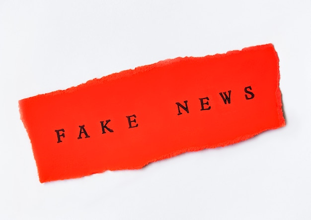 Words fake news written on torn paper