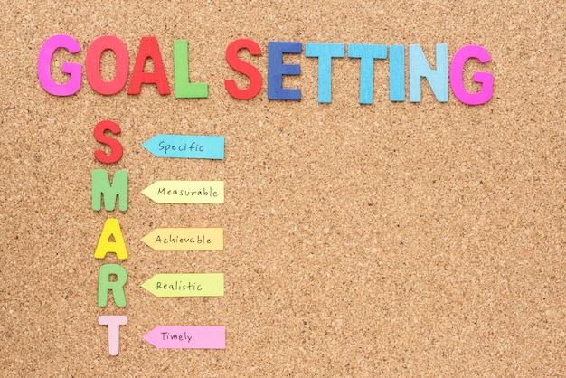 Words goal setting and smart with copy space