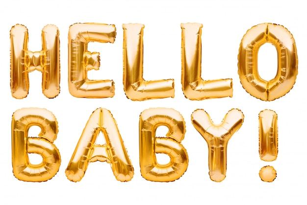 Words hello baby made of golden inflatable balloons isolated on white. helium foil balloons forming text.