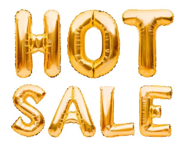Горячая продажа слов сделанная из изолированных золотых раздувных воздушных шаров на белизне. гелиевые шары золотая фольга, образуя фразу супер продажа.