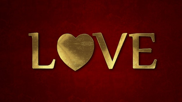 Words love, with gold color on dark background. valentine's day concept