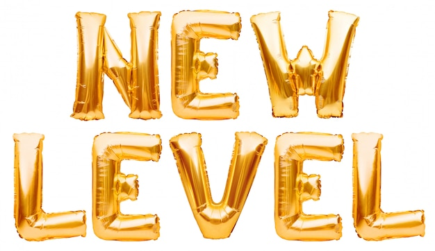 Words new level made of golden inflatable balloons isolated on white. helium gold foil balloons