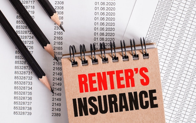 The words renter is insurance is written on the brown notebook Premium Photo