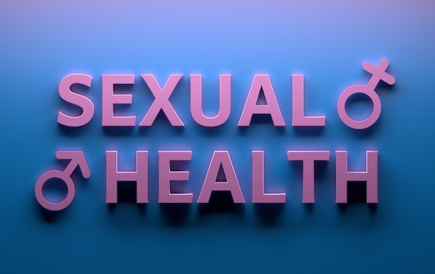 Words sexual health with male female sex gender signs written in pink bold letters on blue