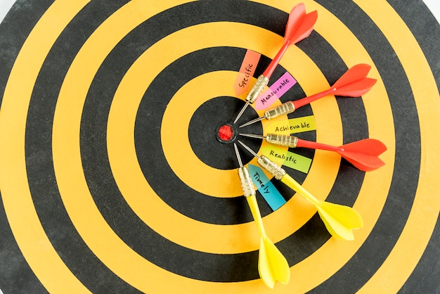 Words smart goals with dart target on dartboard