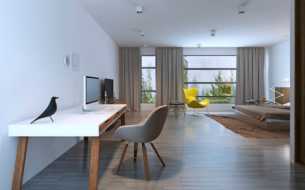 Work area in minimalist bedroom. white table with brown wooden legs, grey chair and pc, statuette of a dove. 3d render