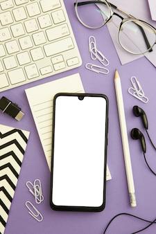 Work arrangement on purple background