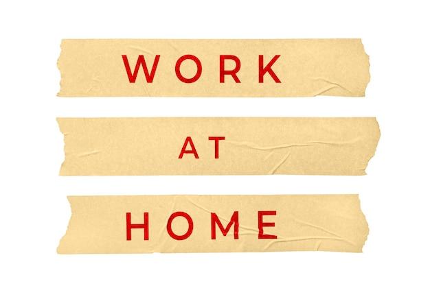 집 개념에서 작동합니다. 텍스트 흰색 배경에 고립 된 테이프 스티커