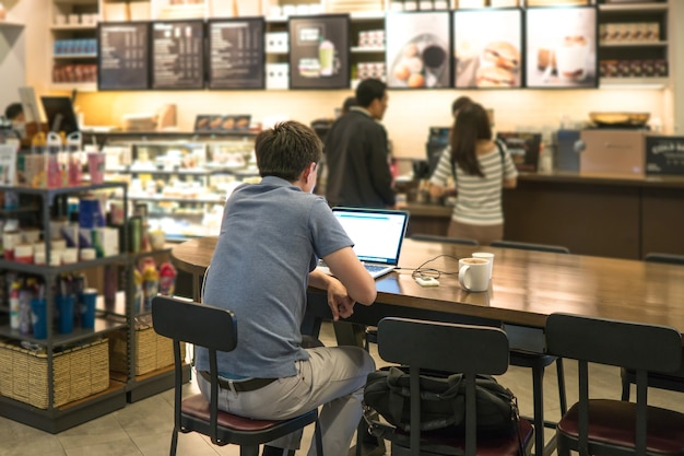 Work at a coffee shop with an independent laptop