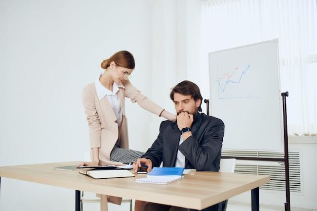 Work colleagues desktop office communication officials