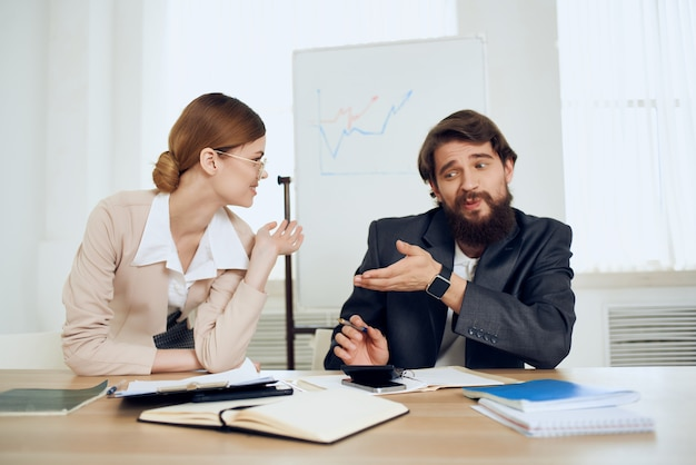 Work colleagues desktop office communication professionals